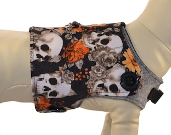 Beauty in Death * Skulls & Fall Flowers Foliage * Halloween Dog Vest Harness * Interchangeable Reversible Pet Dog Cover for PAWZLY Harnesses