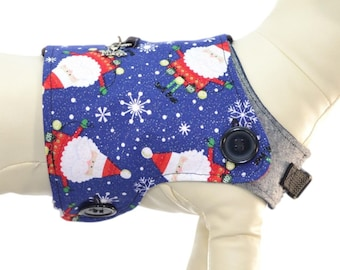 Santa Clause * Ho Ho Ho * Christmas Trees * Xmas Snowflakes * Winter Outfit * Interchangeable Reversible Pet Dog Cover for PAWZLY Harnesses
