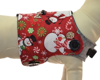 Frosty the Winter Snowman w/ String of Colorful Christmas Lights Dog Harness * Interchangeable Reversible Pet Dog Cover for PAWZLY Harnesses