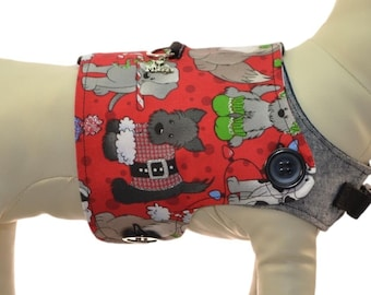 Merry Christmas Party Dogs Harness Vest * Santa Paws * Plaid Dog Paws * Interchangeable Reversible Pet Dog Cover for PAWZLY Harnesses