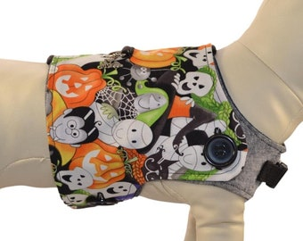 Happy Halloween Dog Harness Cover * Frankenstein, Mummy, Witch, Dracula, Cat * Interchangeable Reversible Pet Dog Cover for PAWZLY Harnesses