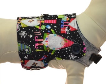 Christmas Party Gnomes Dog Harness Vest * Decorative X-mas Tree * Candy Cane * Interchangeable Reversible Pet Dog Cover for PAWZLY Harnesses