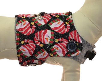 Chilly Winter Snowman w/ Jingle Cap Dog Harness Vest * Winter Mittens * Interchangeable Reversible Pet Dog Cover for PAWZLY Harnesses