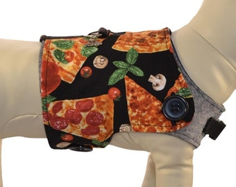 It's PIZZA PICNIC Time! * Pizza Themed Dog Harness Vest * Red White Checkers * Interchangeable Reversible Pet Dog Cover for PAWZLY Harnesses