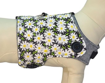 Field of White Daisies Flowers w/ Yellow Buzzing Bee's * Spring Summer Outfit, Interchangeable Reversible Pet Dog Cover for PAWZLY Harnesses
