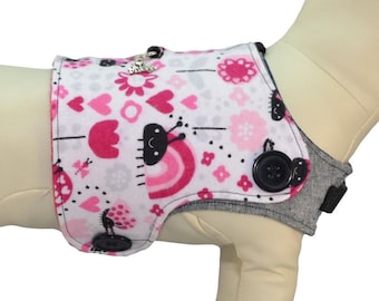 Valentine's Love Bugs Lady Bugs Rainbows Hearts Flowers Sun Dog Bones & Paws Interchangeable Reversible Pet Dog Vest for PAWZLY Harnesses