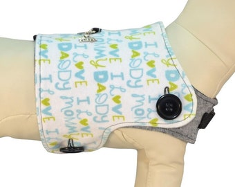 Blue I Love My Daddy Father's Day I Love My Mommy Mother's Day w/ Blue Puppies Interchangeable Reversible Pet Dog Cover for PAWZLY Harnesses