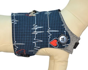 Doctors and Nurses Save Lives - EKG Heartbeat Emergency Room ER Pediatrician Interchangeable Reversible Pet Dog Cover for PAWZLY Harnesses