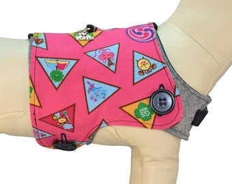 The Girl Scouts of America Awards & Badges w/ Trefoil Logo Brownies Cookies Interchangeable Reversible Pet Dog Cover for PAWZLY Harnesses