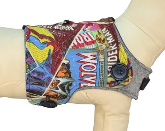 Marvel Comics Dog Harness * Wolverine, Iron Man, Spider-Man, Captain America Comic Covers * PAWZLY Interchangeable Reversible Pet Dog Cover