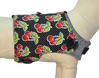 Juicy Ripe Red Cherries & Stems, Sweet Cherry Fruit w/ Retro Red Polka Dots Interchangeable Reversible Pet Dog Cover for PAWZLY Harnesses