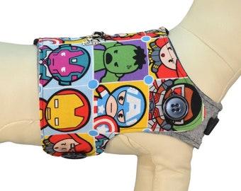 The Avengers Kawaii Dog Harness Vest * Iron Man, Thor, Hawk, Hulk, Captain America, Widow * PAWZLY  Interchangeable Reversible Pet Dog Cover