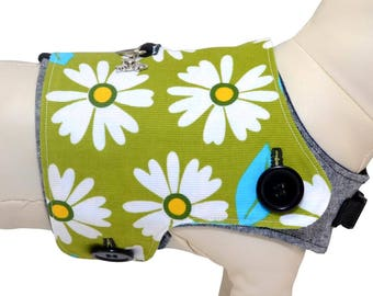 Lime Daisies Dog Vest