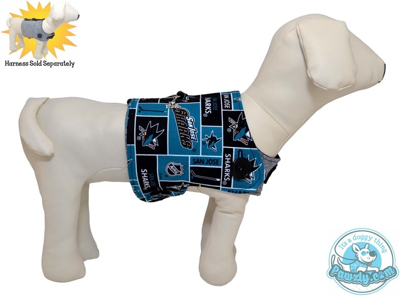 new concept 90dcf 29a1e San Jose Sharks NHL Hockey Reversible & Interchange Dog Cover for PAWZLY  Harnesses