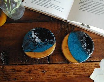 Midnight Storm // Small Fluid Coasters //Fluid Art // Table Coasters