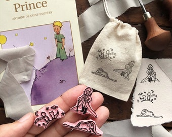The Little Prince Themed | Hand Carved | Tiny Stamps | Mini Stamps