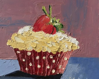 "Original oil painting, palette knife, cupcake on 6""x6"" gessobord."