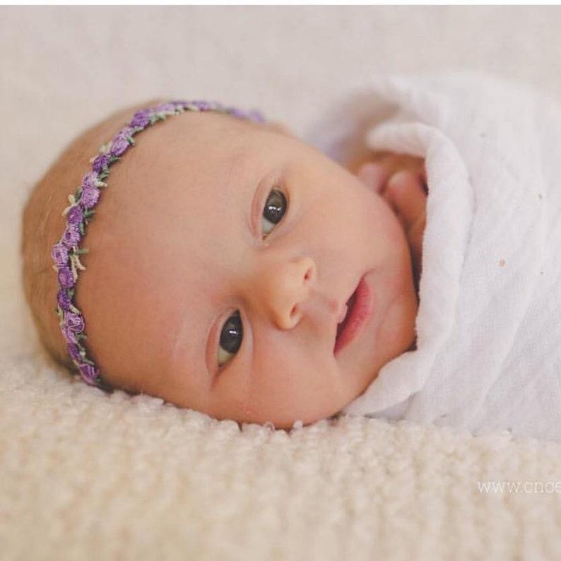 Newborn Headband Baby Hair Bow Baby Headband Floral Headband Flower Headband Baby Photos Flower Crown Purple Flowers Flowers
