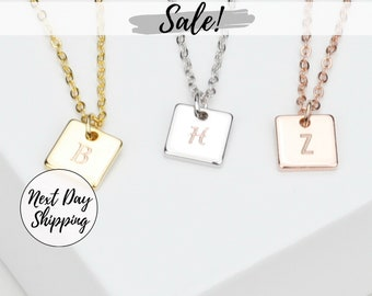 Square Initial Necklace for Women Dainty Necklace Letter Necklace Flower Girl Gifts Kids Jewelry Custom Initial Necklace