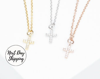 Christian Necklace with Cubic Cross Best Friend Necklace for Kids Cross Necklace Christian Jewelry Necklace for Mom Vertical Necklace CNWC-2