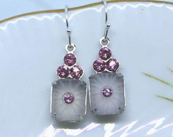 Vintage Camphor Glass set with Rose Pink Swarovski Crystals  and sterling silver hook
