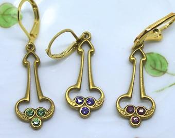 Art Deco Trefoil Raw Brass & Swarovski Crystal Earrings Dangles Drops