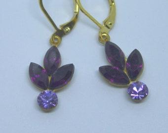 Vintage Amethyst & Violet Rhinestone Flower Leaf Drops dangles earrings