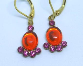 3750e3a79 Vintage Orange Hyacinth Oval Stone & Rose Pink Swarovski Rhinestone drop  dangle earrings
