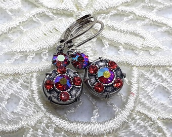 c5d1bb463 Ornate Art Deco Antique Silver Swarovski Rhinestone Earring Dangles with Vintage  AB Hyacinth & Padparadscha Pink
