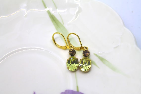 made in UK Gorgeous Oval Clip Earrings using Swarovski Jonquil