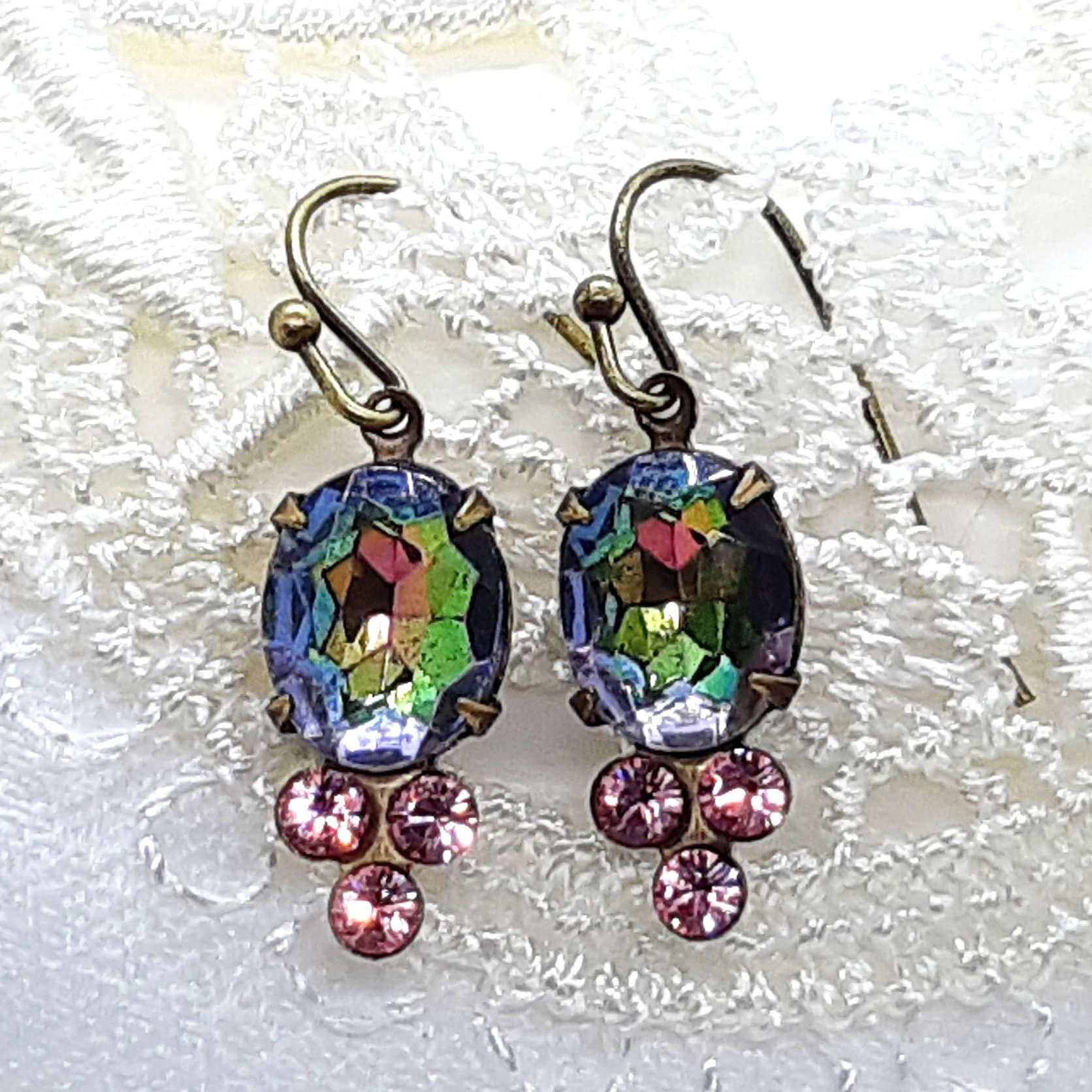 bd92d6e26 Vintage Vitrial Medium & Light Pink Swarovski crystal drop | Etsy