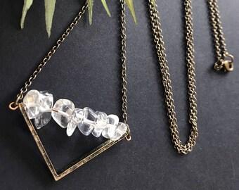 Modern Clear Quartz Pendant Necklace // Unique Long Necklace // Natural Stone Necklace // Boho Necklace // Long Modern Necklace // Chevron