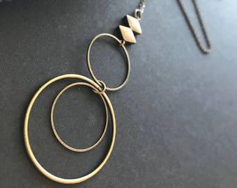 Modern Circle Pendant Necklace // Long Necklace // Long Modern Necklace // Boho Necklace // Long Geometric Necklace // Unique Long Necklace