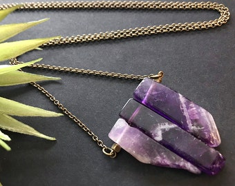 Raw Amethyst Pendant Necklace // Natural Stone Necklace // Unique Long Necklace // February Birthstone Necklace // Long Modern Necklace
