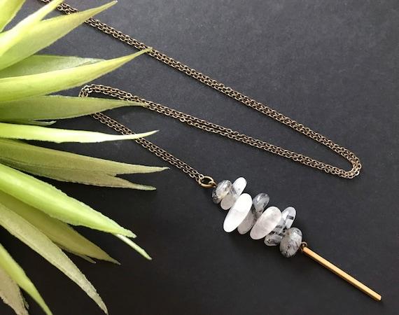 Tourmalated or Rutilated Quartz Necklace Unique Necklaces for Women Boho Crystal Pendant Necklace
