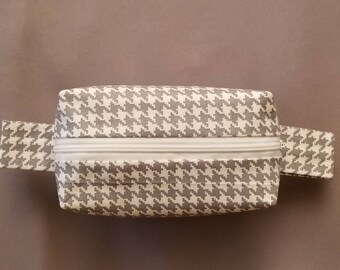 Boxy Makeup Bag | Women's Toiletry Bag | Small Cosmetics Bag | Cosmetics Accessory Pouch in Gray Houndstooth Pattern