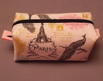 Boxy Cosmetic Bag | Boxy Makeup Bag | Women's Toiletry Bag with Pink Paris Details