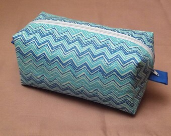 Boxy Cosmetic Bag | Boxy Makeup Bag | Women's Toiletry Bag in Blue and White Chevron Pattern