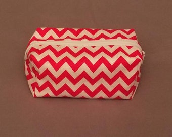 Boxy Makeup Bag | Women's Toiletry Bag | Small Cosmetics Bag | Cosmetics Accessory Pouch in Red and White Chevron Pattern