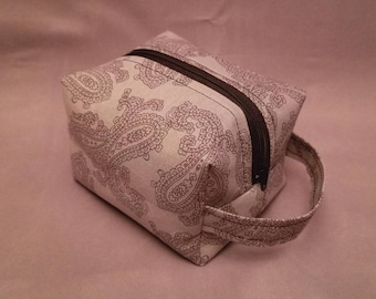 Boxy Makeup Bag | Women's Toiletry Bag | Small Cosmetics Bag | Cosmetic Accessory Pouch in Gray Paisley Pattern