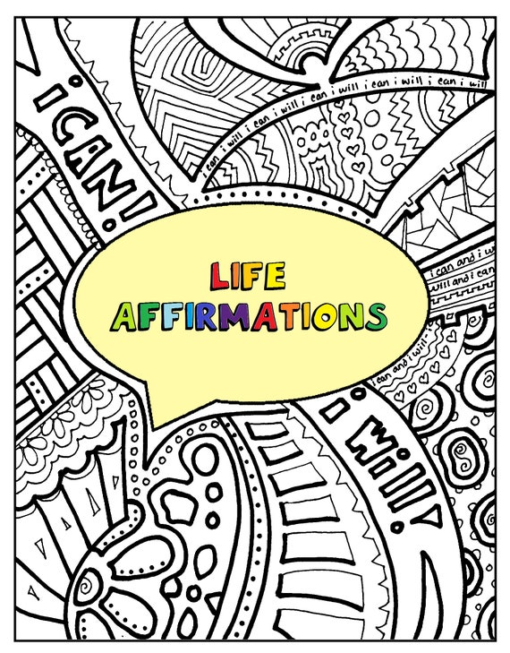 Affirmations. Adult Coloring Book Printable INSTANT Etsy