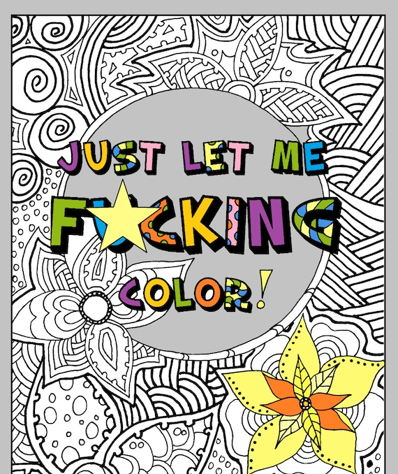 Adult Coloring Book Pdf Printable Instant Download Swear Etsy