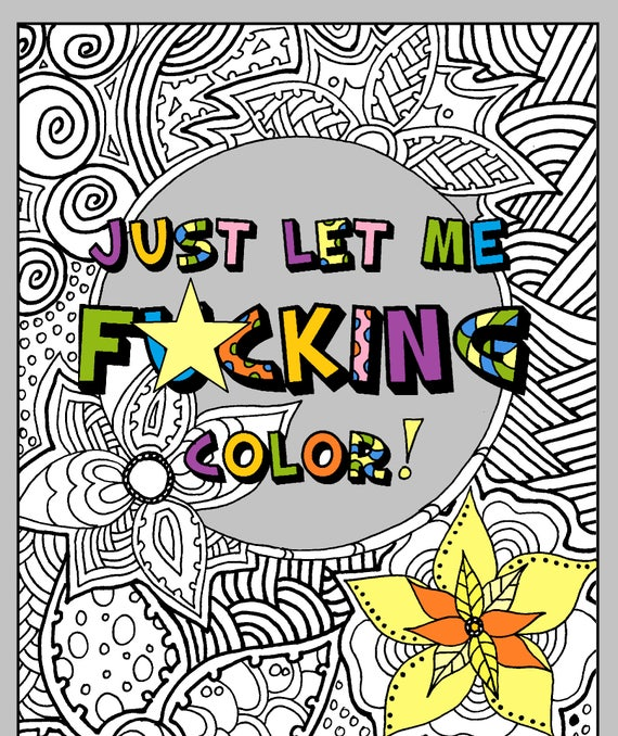 Adult Coloring Book. PDF. Printable INSTANT DOWNLOAD Swear Etsy