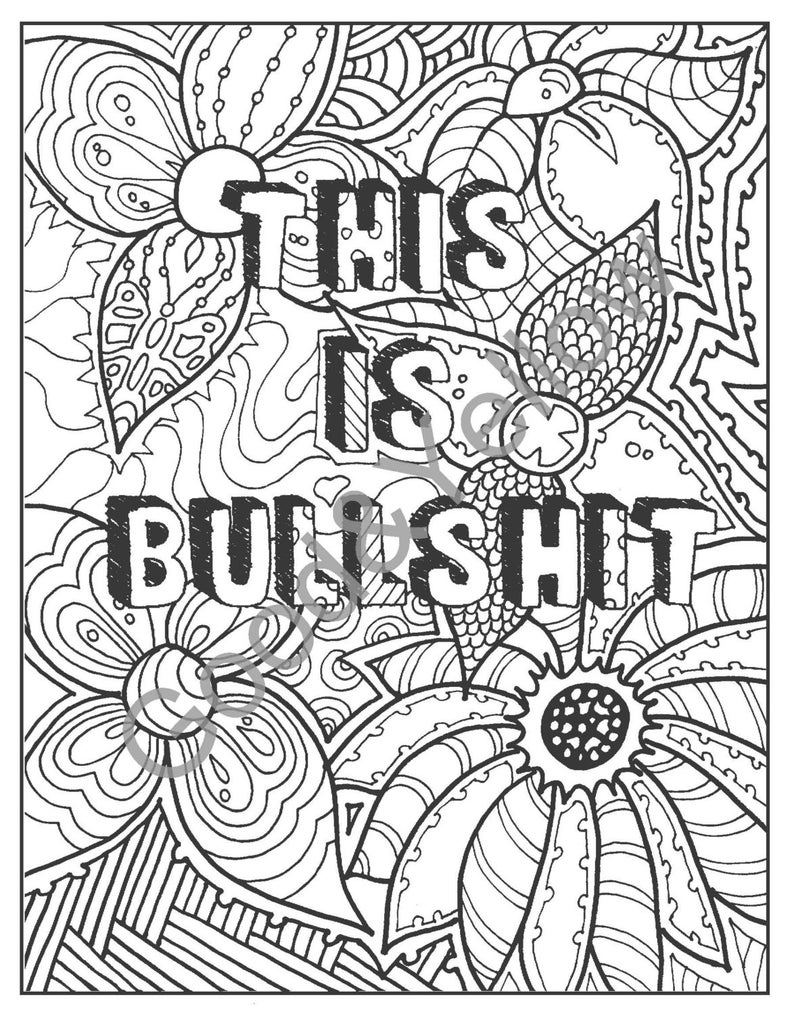 Adult Coloring Book. PDF. Printable INSTANT DOWNLOAD Swear ...