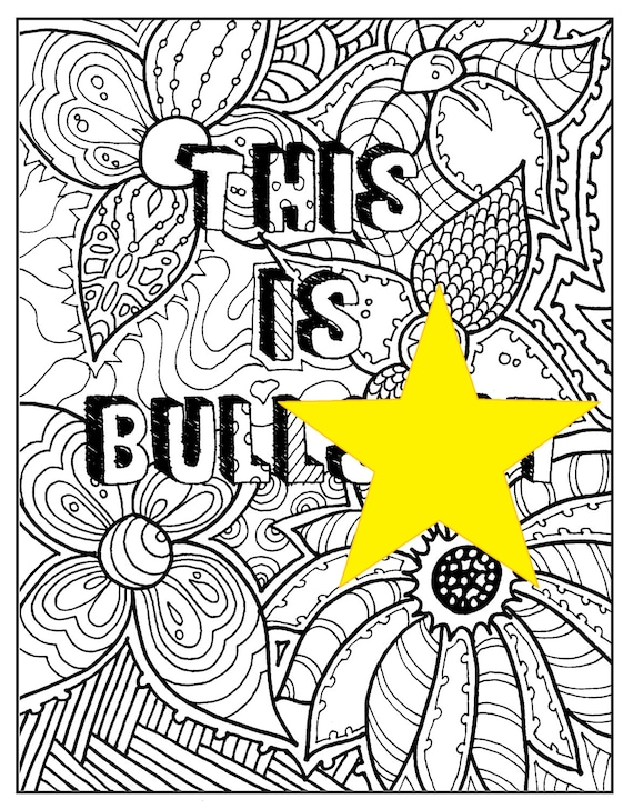 Adult Coloring Page Printable INSTANT DOWNLOAD Pdf. Swear Etsy