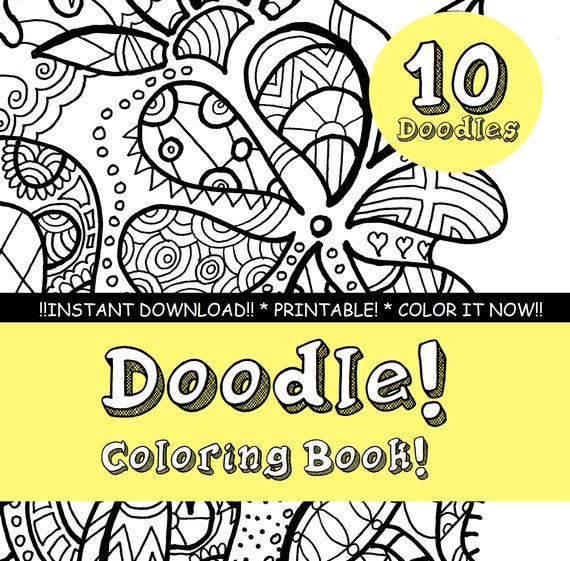 Adult Coloring Book Printable INSTANT DOWNLOAD Pdf. Etsy