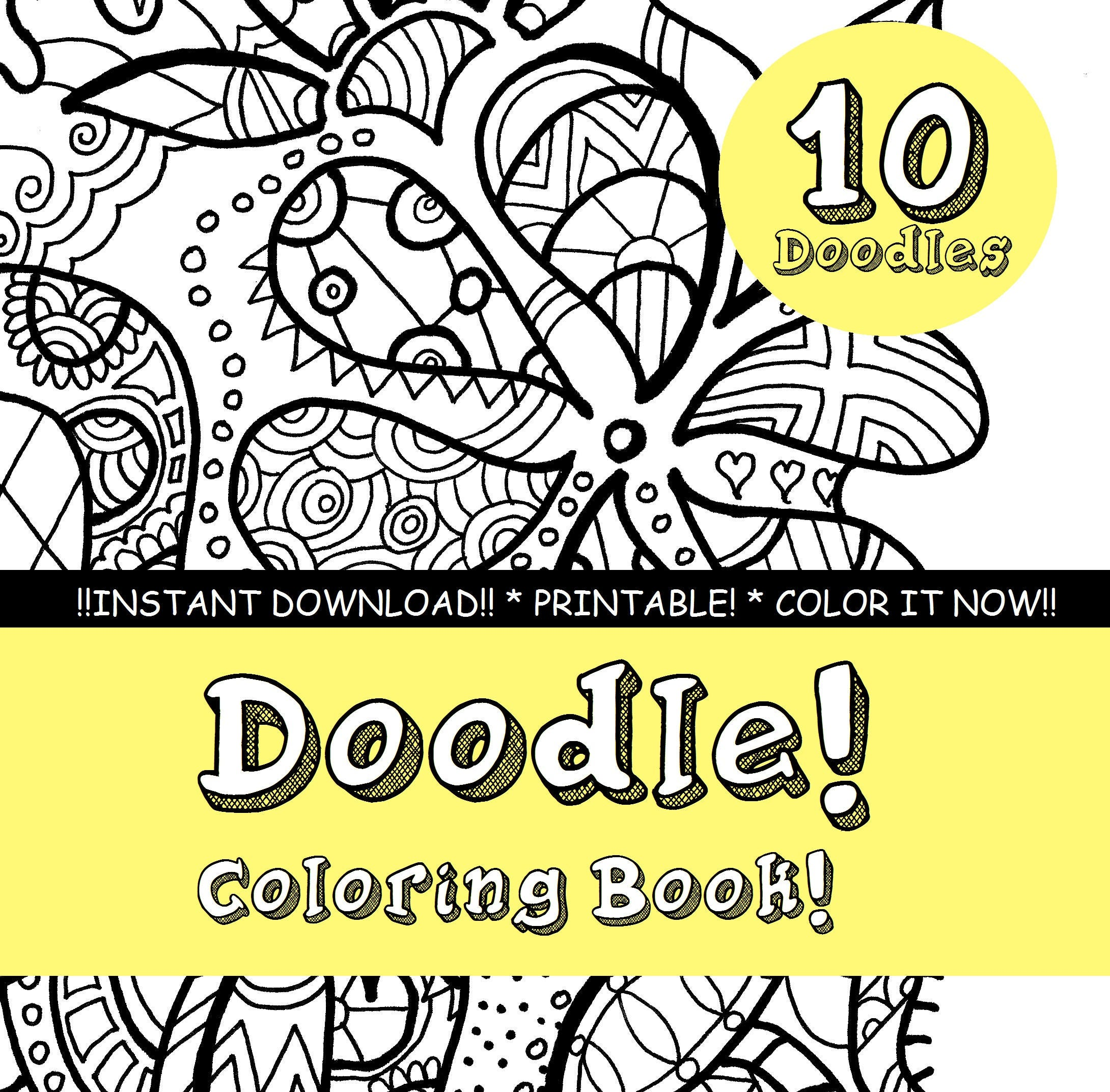 - Doodle Coloring Book Flowers Leaves Butterfly Abstract Etsy