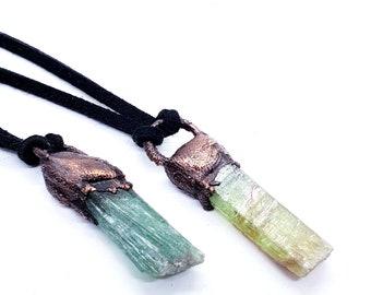 Green kyanite pendants