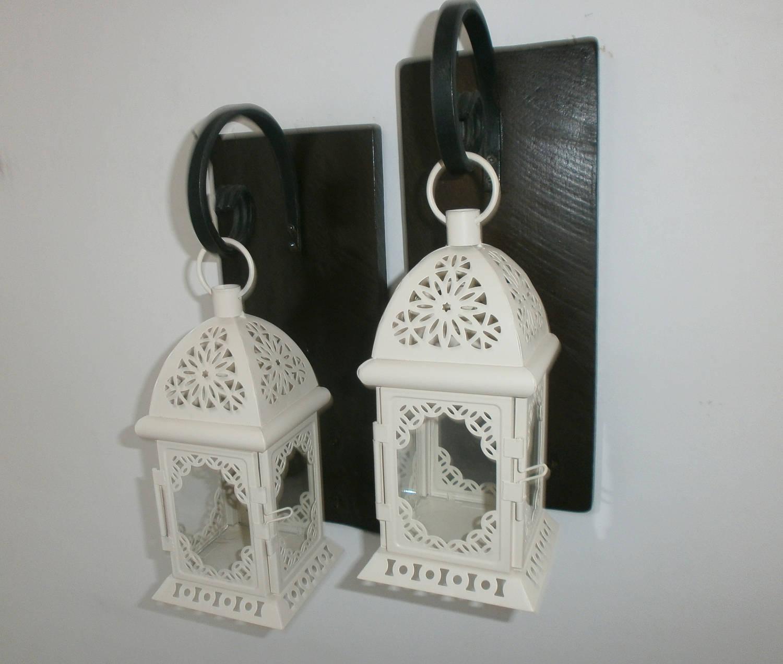 2 marocain blanc lanterne appliques rustique suspendus | etsy