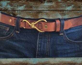 Brown Horse Hoof Pick Buckle Leather Belt